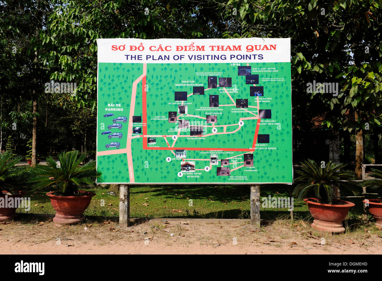 Site map of the points of interest in the open-air war museum in Cu Chi, South Vietnam, Vietnam, Southeast Asia, Asia - Stock Image