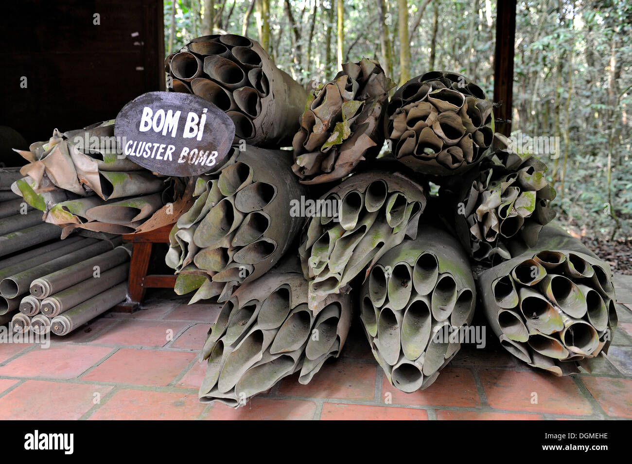 American cluster bombs from the Vietnam War in the open-air war museum in Cu Chi, South Vietnam, Vietnam, Southeast Asia, Asia - Stock Image