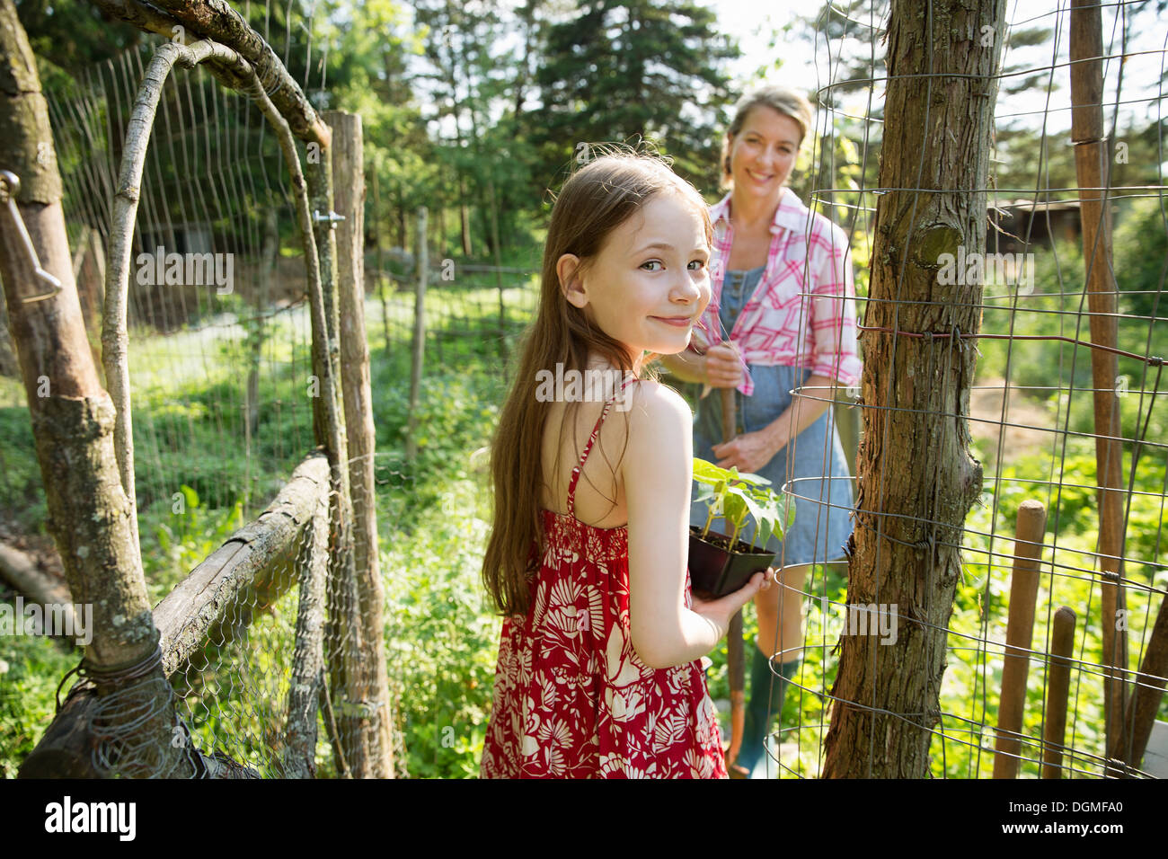 A woman and a child holding a young green plant in a pot. - Stock Image