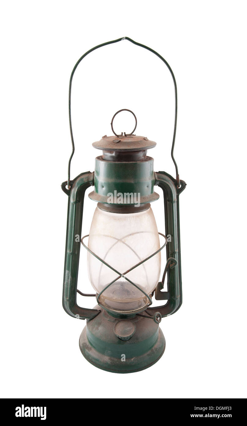 Old dirty oil lamp with clipping path - Stock Image