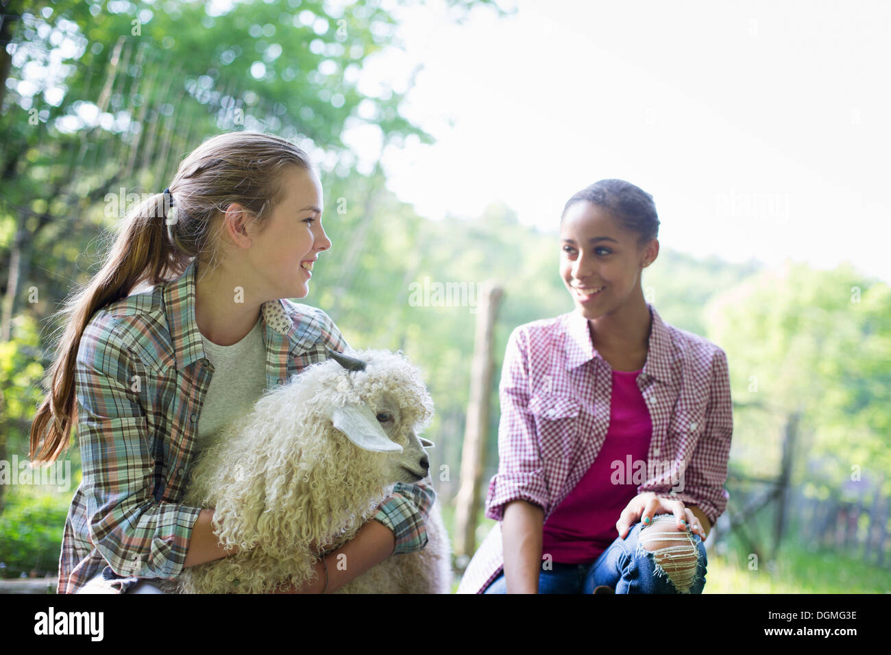 Two young girls on the farm, outdoors. one with her arms around a very fluffy haired angora goat. - Stock Image