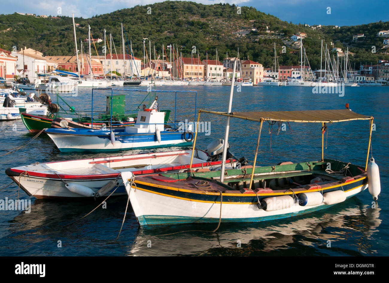 Fishing boats in Gaios harbour. - Stock Image