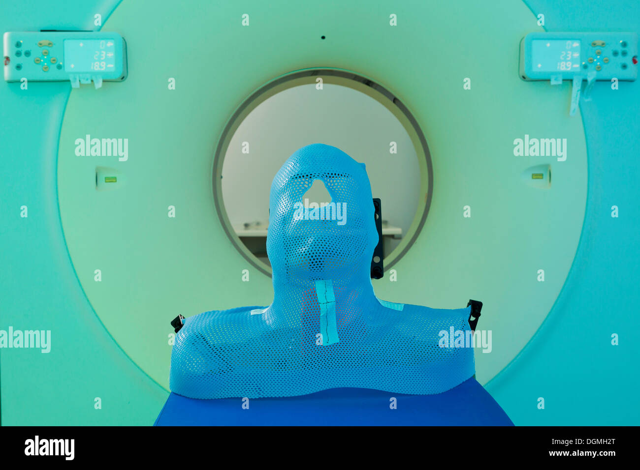 Mask for fixation of the head during a computed tomography, Freising, Upper Bavaria, Bavaria, Germany - Stock Image