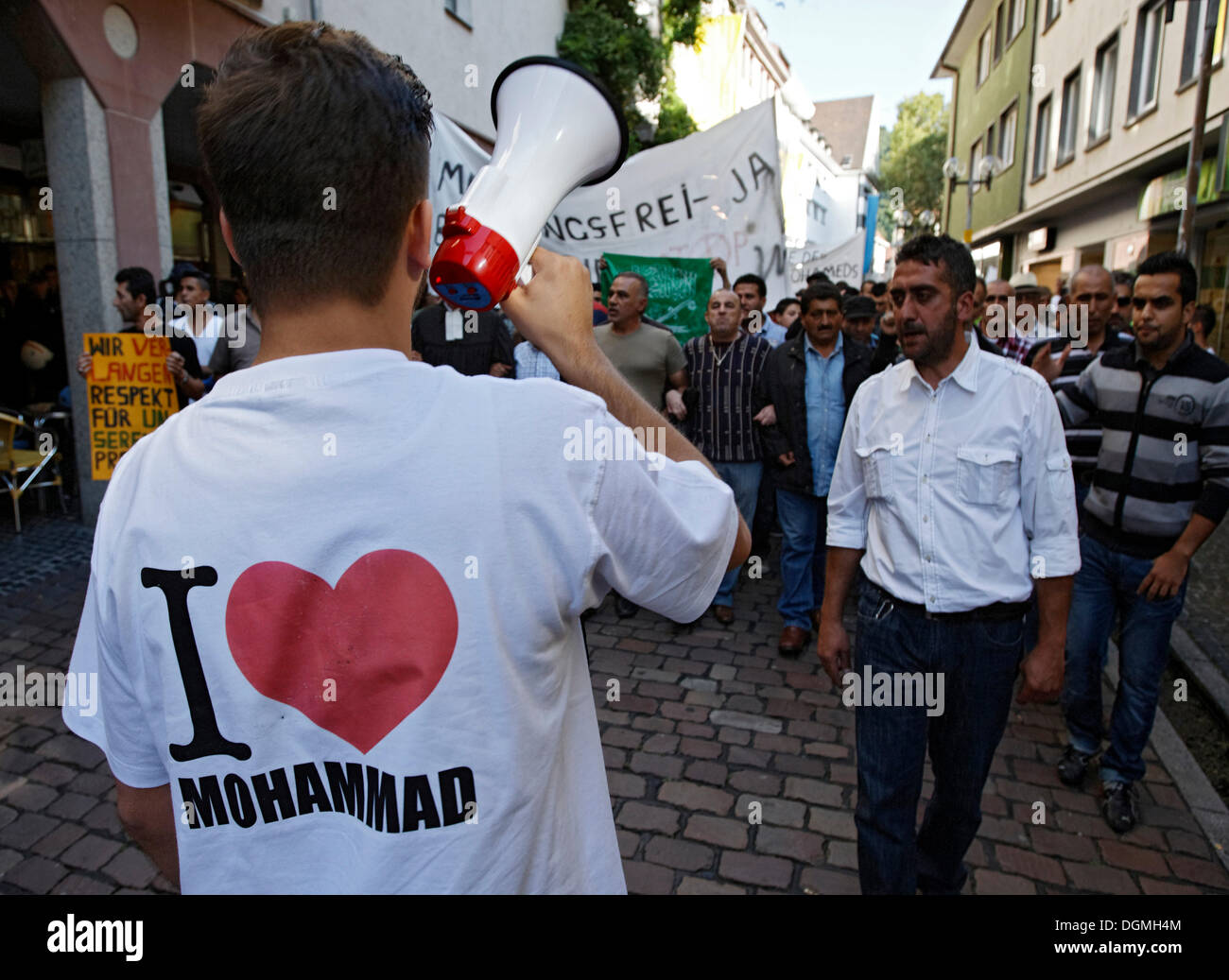 Muslims demonstrating peacefully against the Muhammad defamatory video in Freiburg, Baden-Wuerttemberg - Stock Image