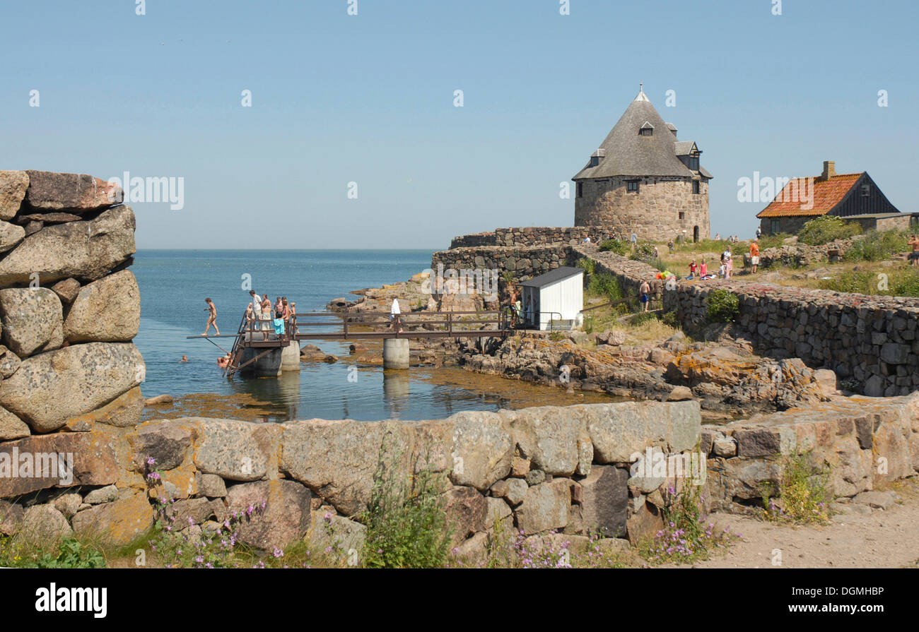 Bathplace, stonewalls and tower at the old Christiansoe Fortress, Denmark, Europe - Stock Image