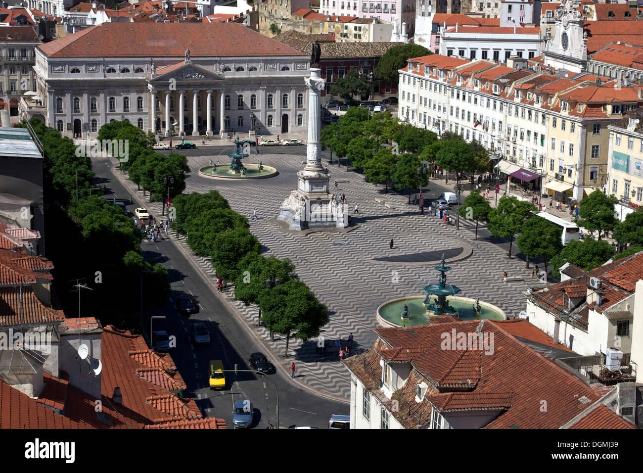 View from the Santa Justa lift, Elevador de Santa Justa, to Rossio Square, Praça de Dom Pedro IV, National Theatre Stock Photo