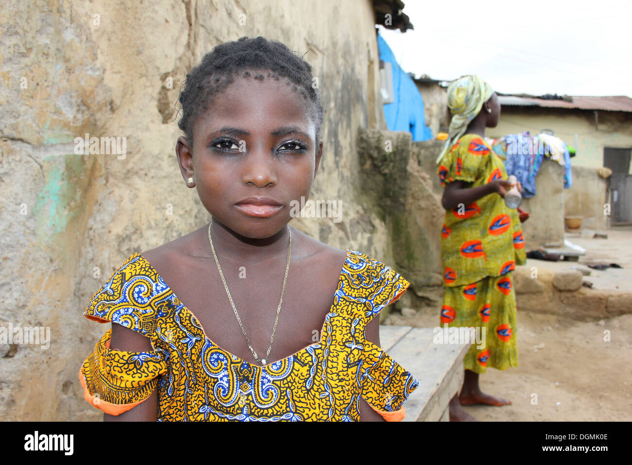 Young Gonja Girl Of the Guan Ethnic Group, Ghana - Stock Image