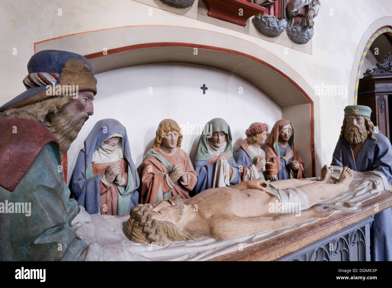 Holy grave, depiction of the Entombment of Christ, around 1500, with seven small tuff statues, Romanesque-Gothic Abbey Church of - Stock Image