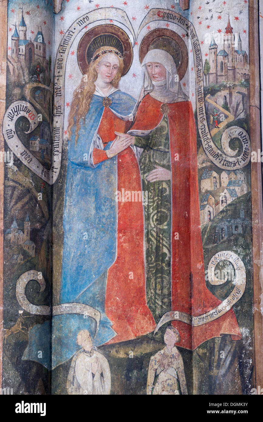 Gothic fresco of the Virgin Mary and a Saint, in the Romanesque-Gothic Abbey Church of St. Martin and St. Severus Stock Photo