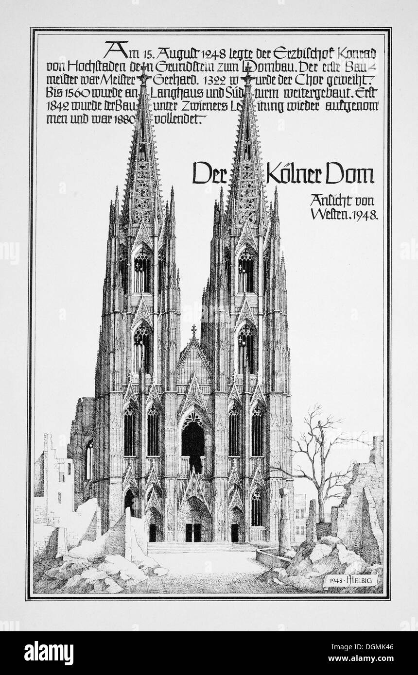 Historic engraving depicting the destroyed Cologne Cathedral by J. Helbig, 1948, post-war era, a UNESCO World Heritage Site - Stock Image