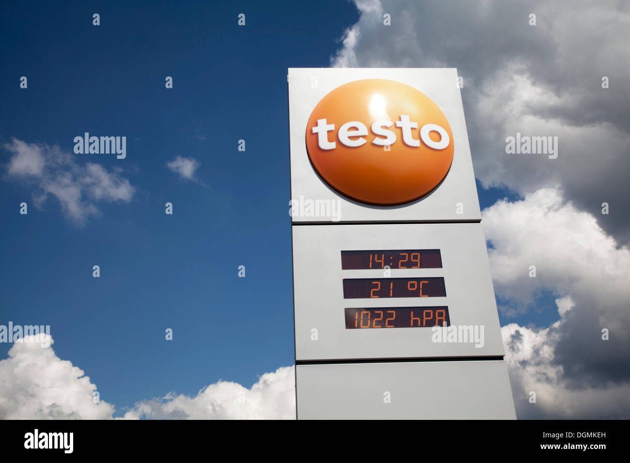 Testo outdoor display for time, temperature and air pressure readings, Testo is the world market leader in portable metrology - Stock Image