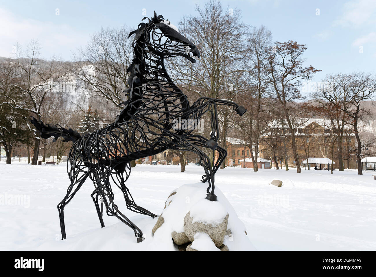 Wotan's eight-legged horse Sleipnir, figure on the Mythenweg Germanic myth road, Thale, Harz, Saxony-Anhalt - Stock Image