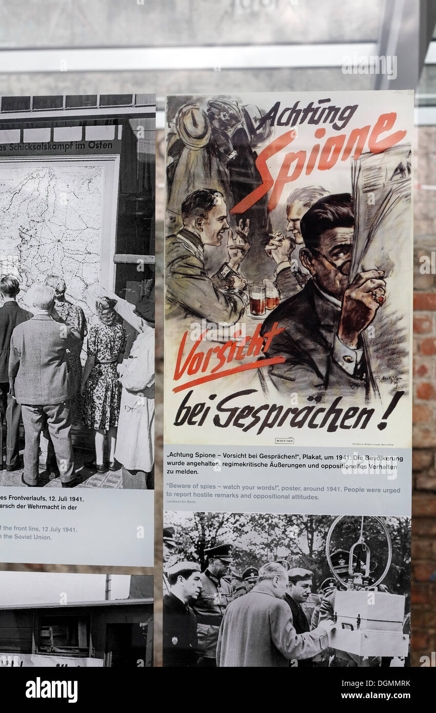 Nazi propaganda poster, warning to beware of spies and to be careful when discussing, exhibition at the former site of the - Stock Image
