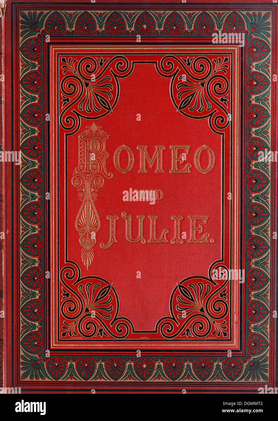 Book cover with gold embossed letters and ornamentation, Romeo and Juliet by Shakespeare, edition from 1890 - Stock Image