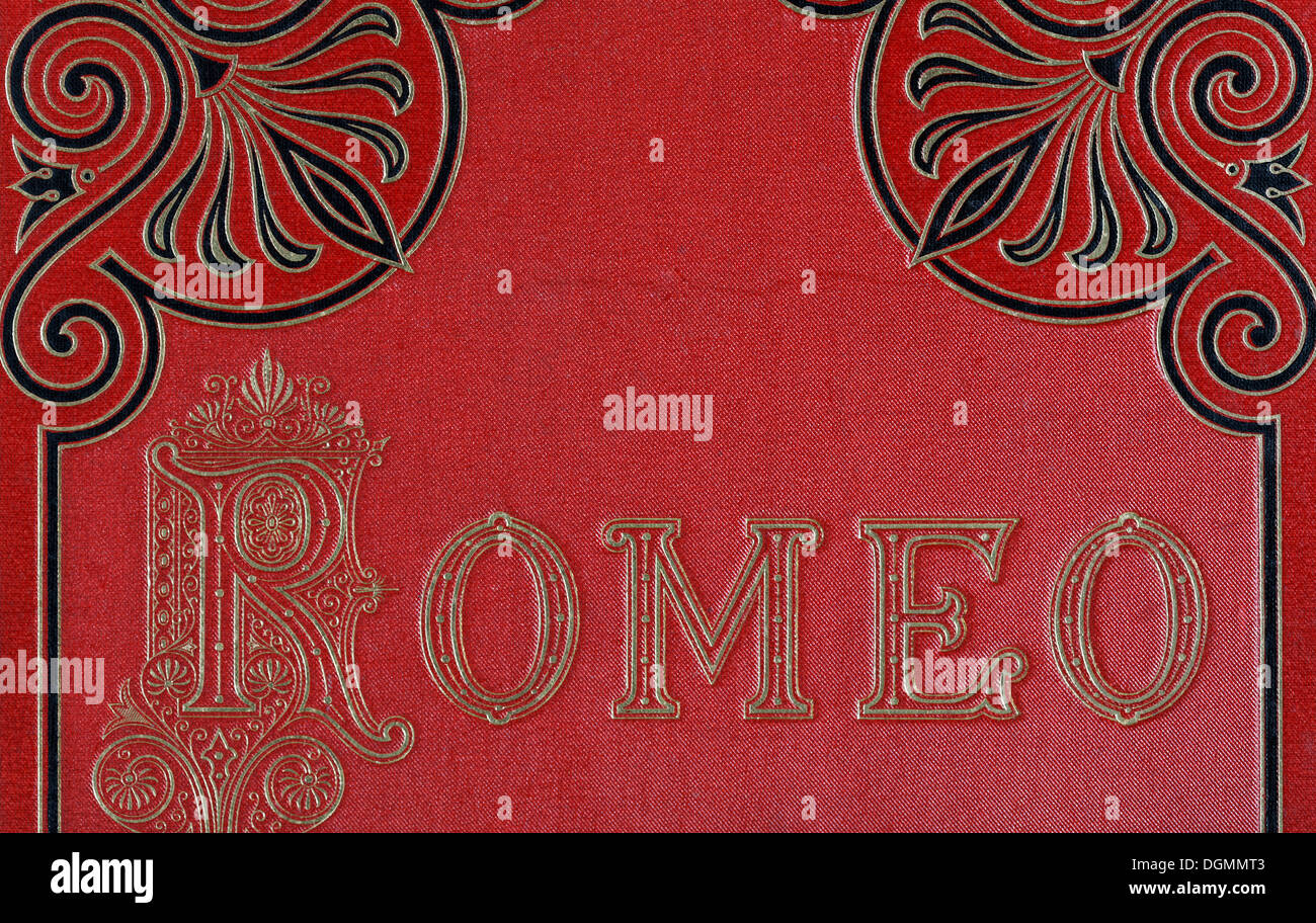 Gold embossed text, Romeo, book cover with gold embossed letters and ornamentation, Romeo and Juliet by Shakespeare - Stock Image