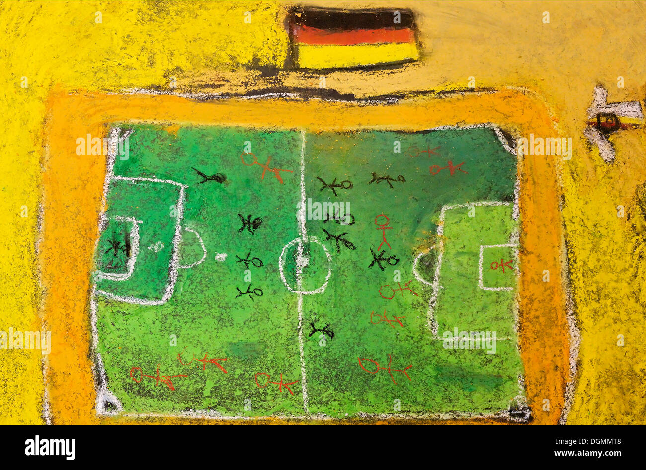Soccer field and a German national flag, chalk drawing, painted on the floor by children - Stock Image