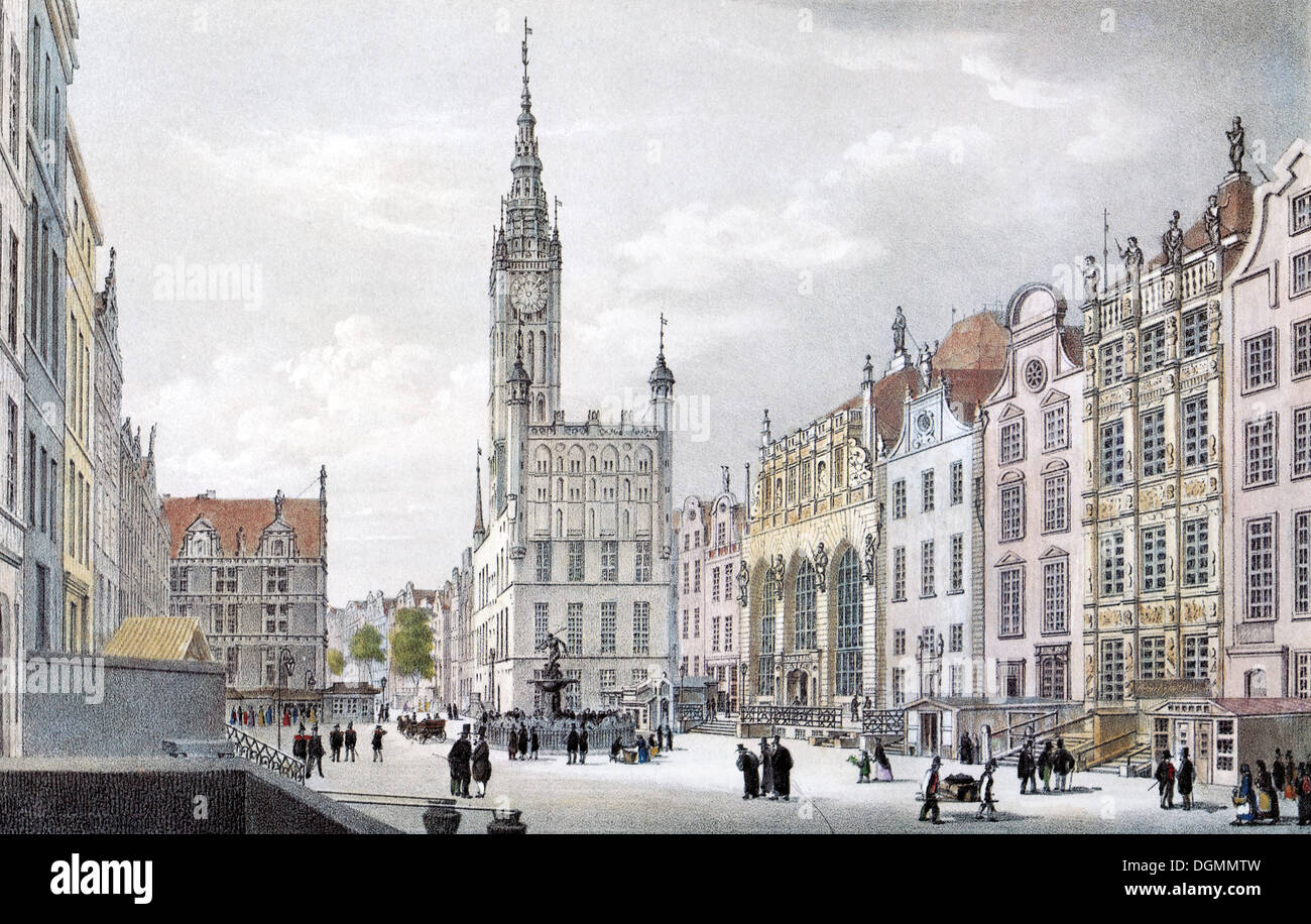 View of Gdansk, Long Market square, about 1850, historic cityscape, steel engraving created in the 19th century, Poland, Europe - Stock Image