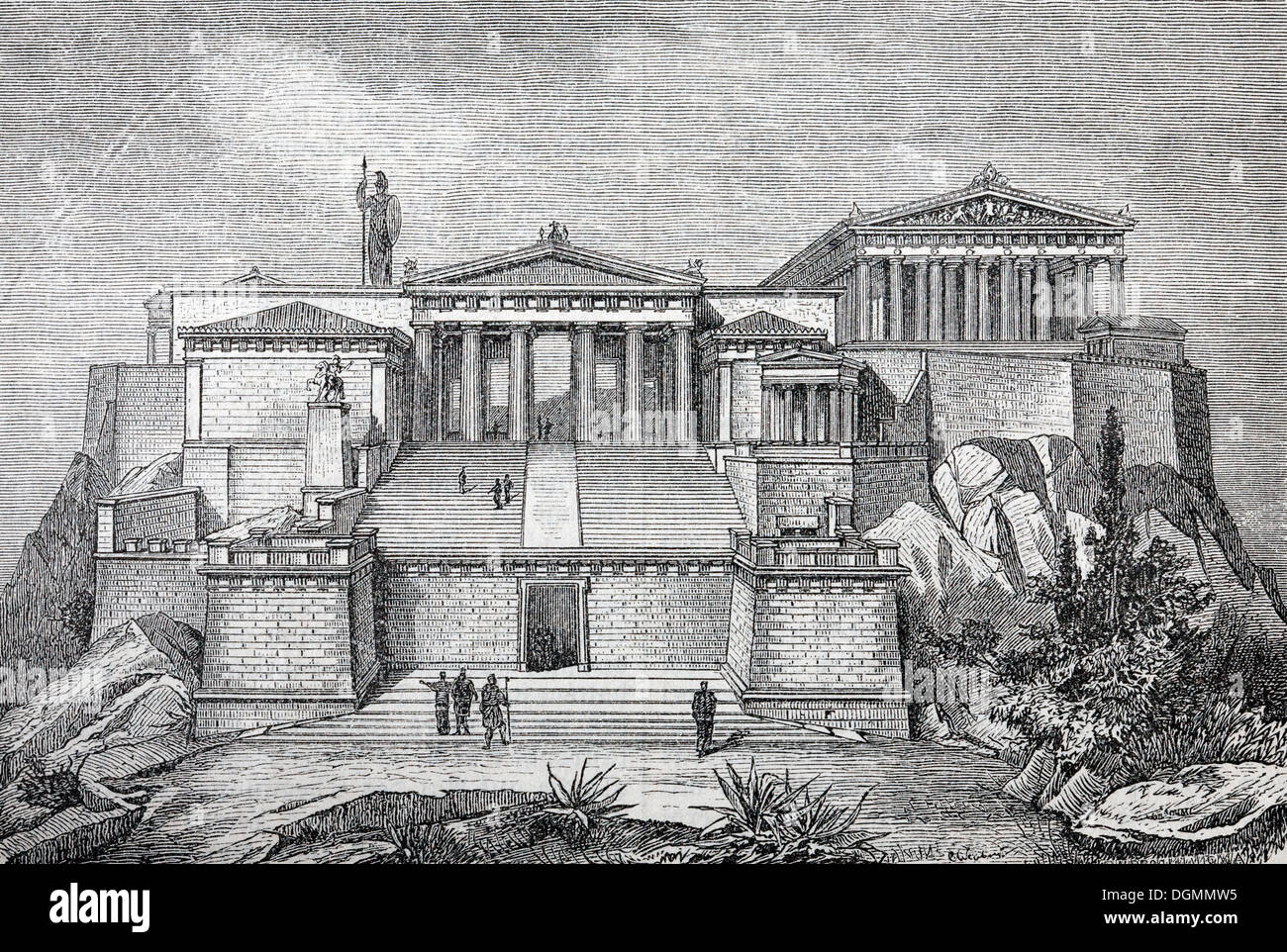 Acropolis, reconstruction from the 19th Century, historical book illustration, steel engraving, Brockhaus Encyclopedia Stock Photo