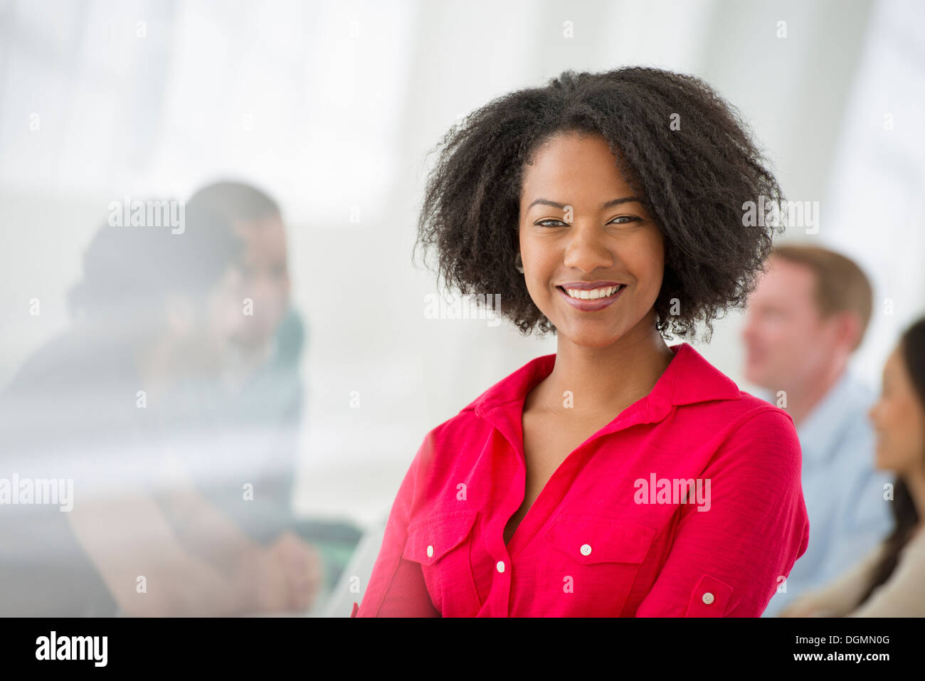 Business meeting. A confident businesswoman. Leader. - Stock Image