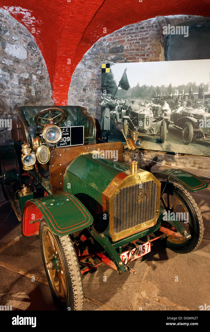 De Dion Bouton Swift, racing car of 1902, museum of the Circuit de Spa-Francorchamps race track, Stavelot Abbey, Ardennes region - Stock Image