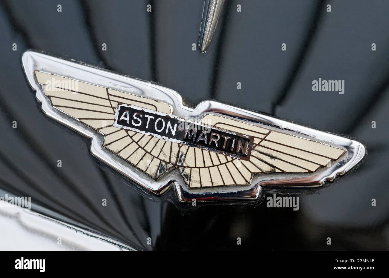 Old Aston Martin Logo On The Hood British Car Brand For Sports Cars