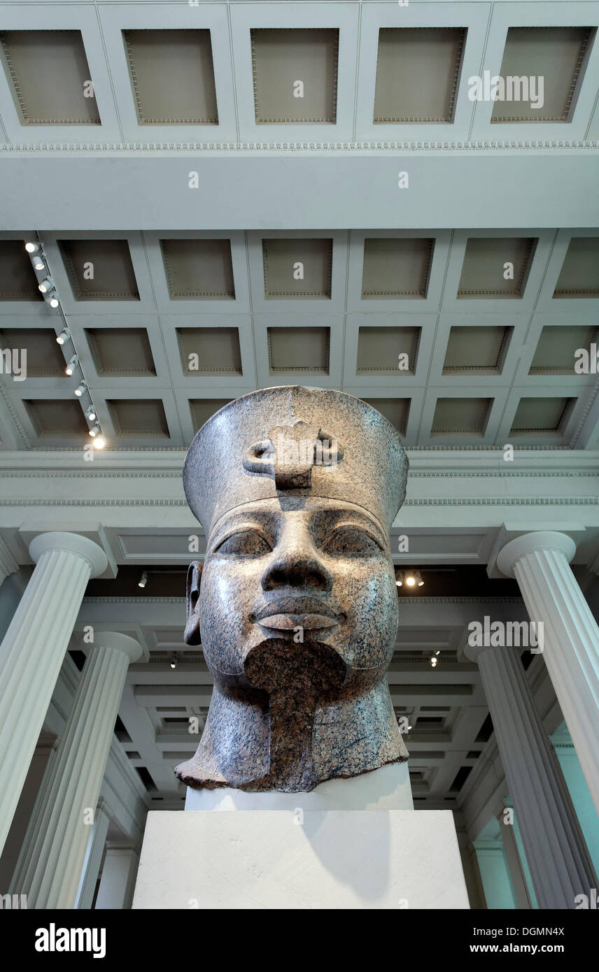 Head of the Egyptian king Amenhotep III from Thebes, monumental granite sculpture, British Museum, London, England - Stock Image
