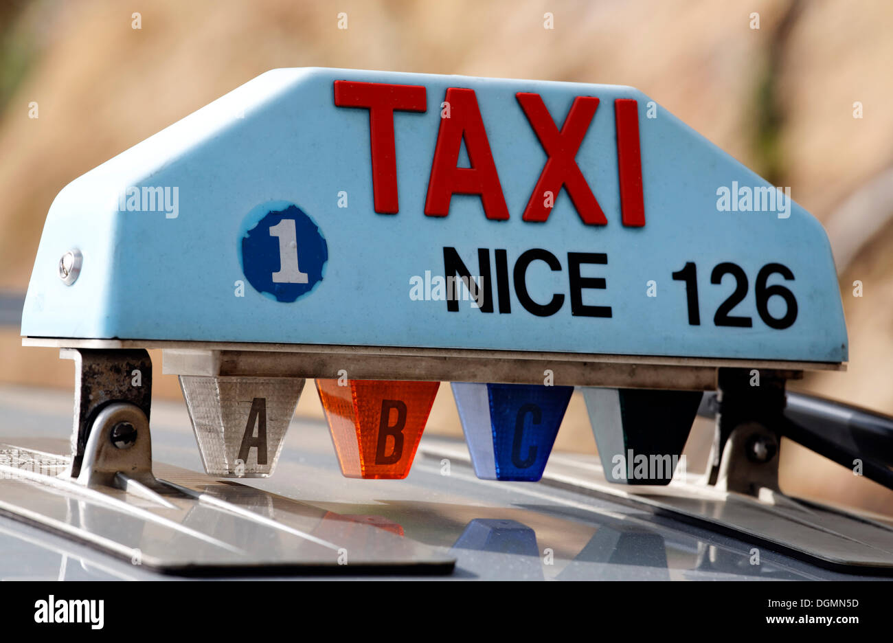 Taxicab from Nice, sign on a car roof, Provence-Alpes-Côte d'Azur region, France, Europe - Stock Image