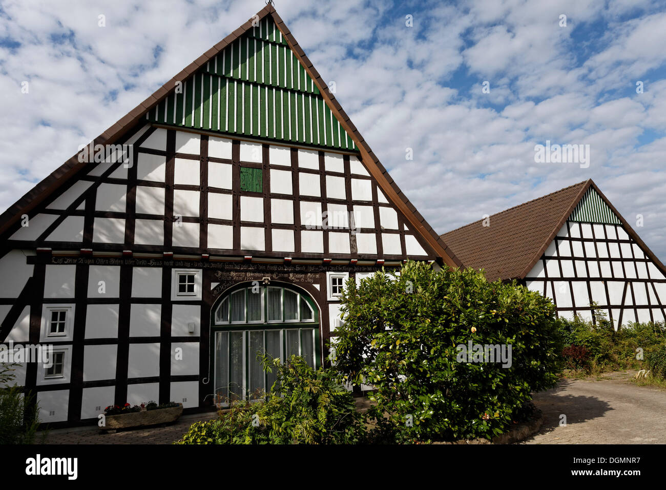 Old Lower Saxon half-timbered houses, historic centre of bad Essen, Osnabruecker Land region, Lower Saxony - Stock Image
