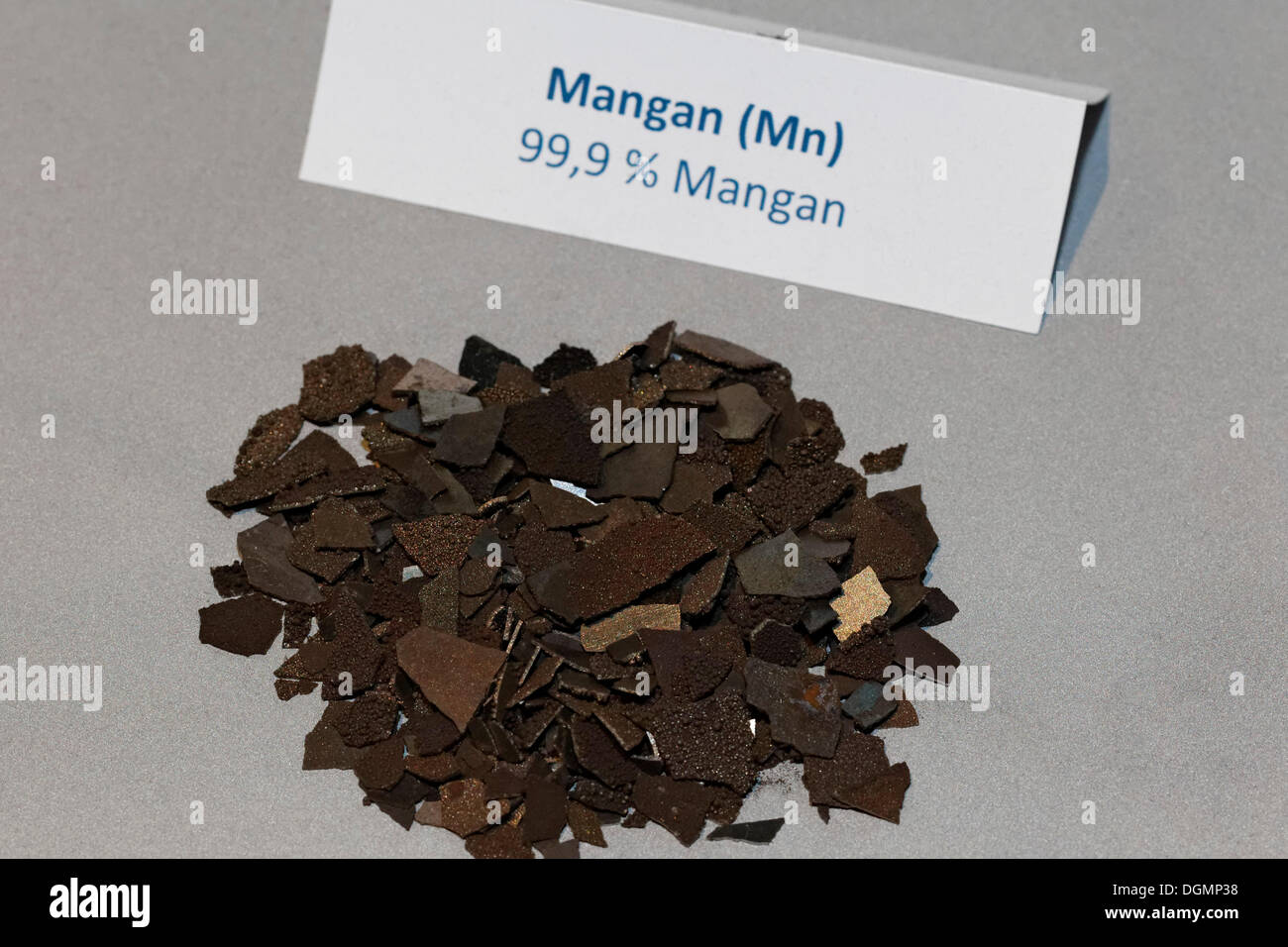 Manganese, Mn, an alloying element for steelmaking, IdeenPark 2012, Essen, Ruhr area, North Rhine-Westphalia - Stock Image