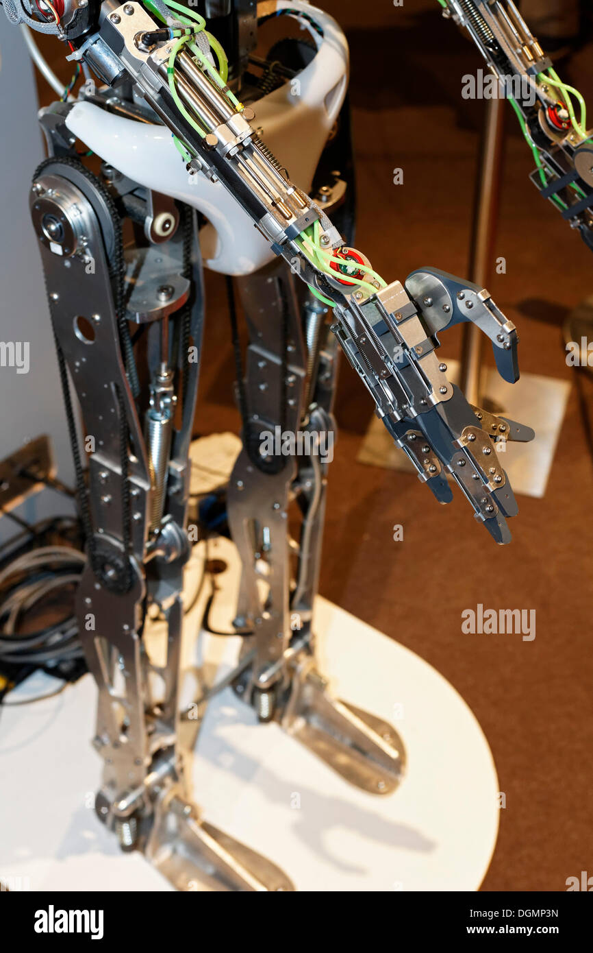 Steel limbs of RoboThesbian, a humanoid robot by Engineered Arts, IdeenPark 2012, a technology and education summit conference - Stock Image
