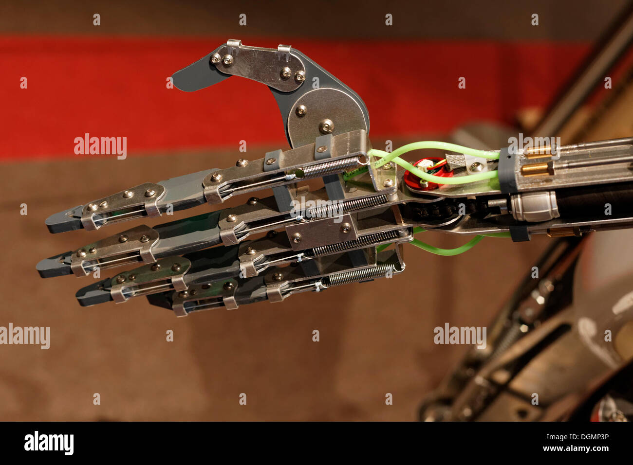 Outstretched hand of RoboThesbian, a humanoid robot by Engineered Arts, IdeenPark 2012, a technology and education summit - Stock Image