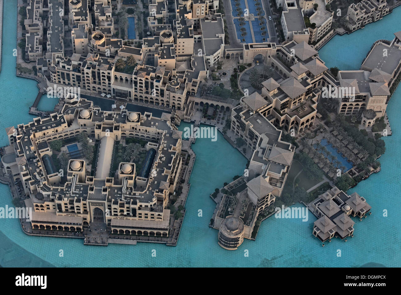 View from Burj Khalifa towards neighbourhoods built in the traditional style, Downtown Dubai, The Old Town, United Arab Emirates - Stock Image
