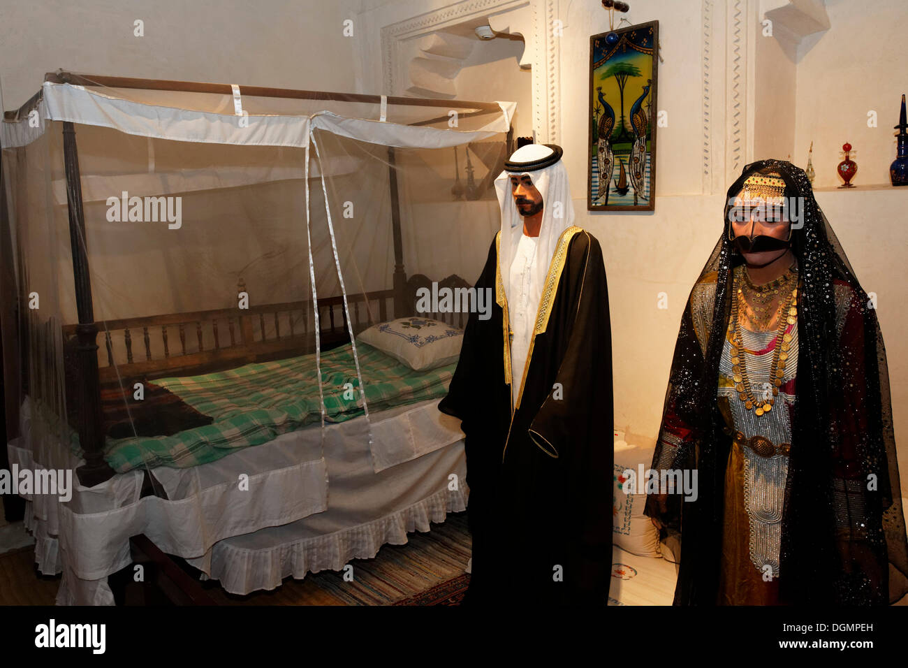 7ef7fcd7c5379 Arab couple wearing traditional clothing, life-size figures, Heritage House  Museum, United Arab Emirates, Middle East, Asia