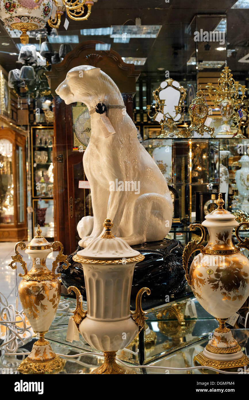 Porcelain greyhound, kitsch decor in a European style for Arab home furnishings, Deira, Dubai, UAE, Middle East, Asia - Stock Image