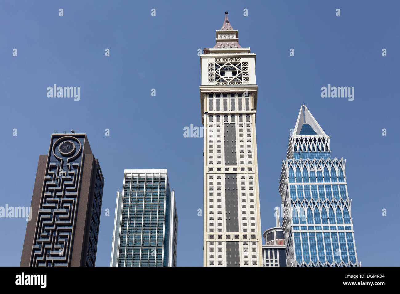 Skyscrapers built in differing architectural styles, Dubai International Financial Centre, DIFC, Dubai, United Arab Emirates - Stock Image