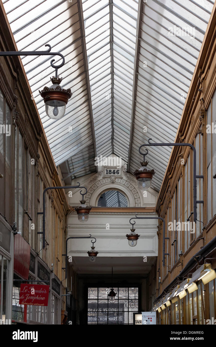 Shopping arcade of 1846 with a glass roof, Passage Jouffroy, 9th Arrondissement, Paris, Ile-de-France, France - Stock Image
