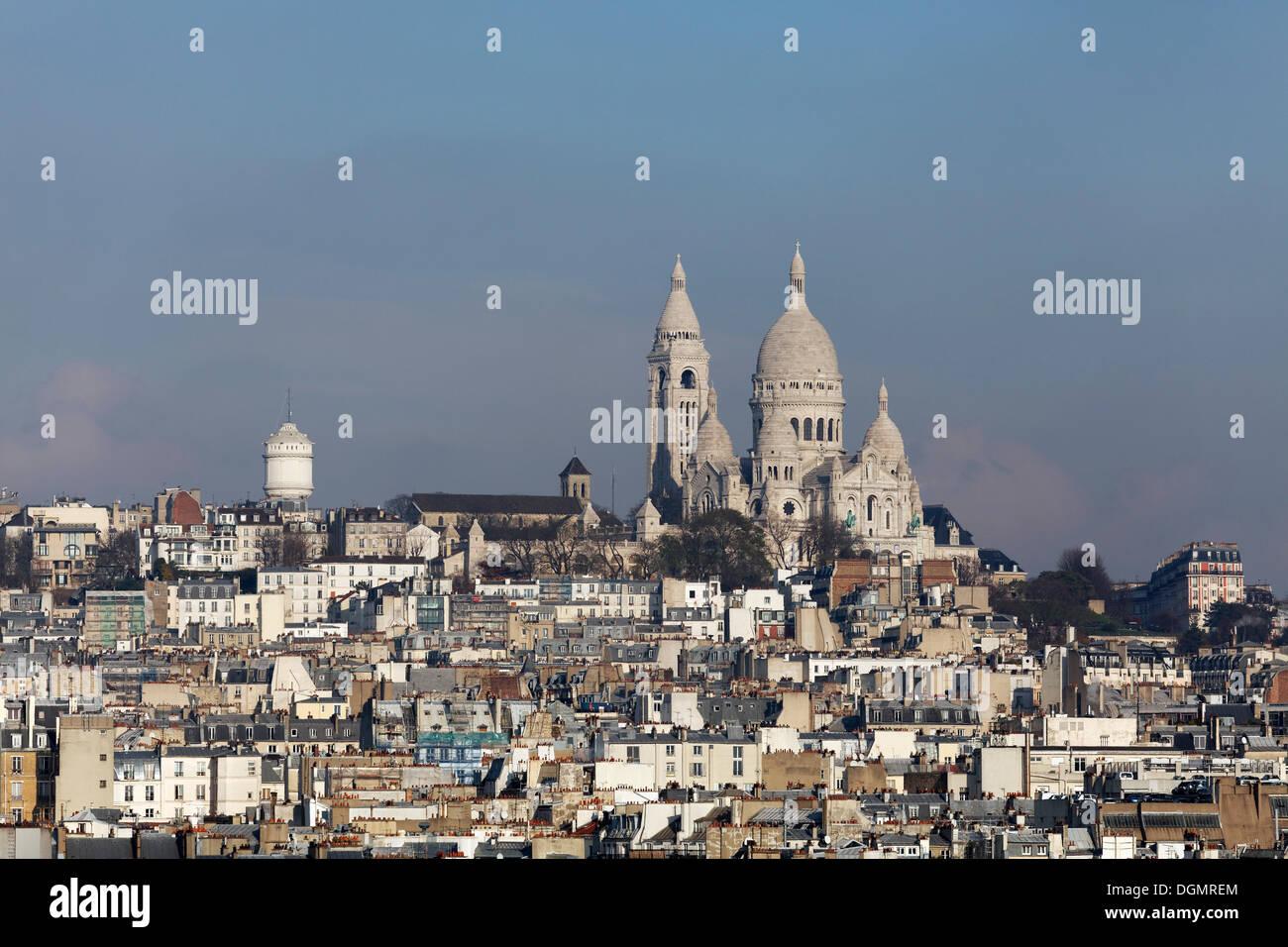 Sanctuary of Sacré-Coeur de Montmartre, view from the roof of the Galeries Lafayette, 5th arrondissement, Paris, Ile-de-France - Stock Image