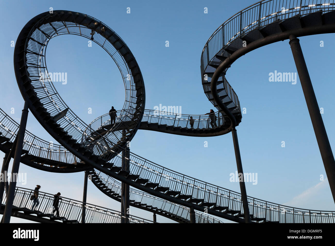 Tiger & Turtle - Magic Mountain, landmark, accessible sculpture shaped like a roller coaster, Angerpark, Angerhausen, Stock Photo