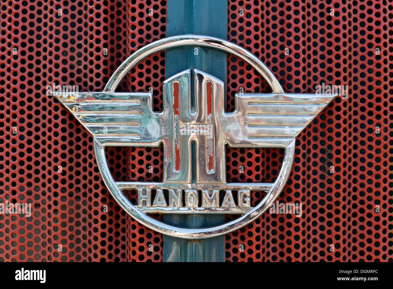 Cooler with the Hanomag logo, vintage tractor - Stock Image