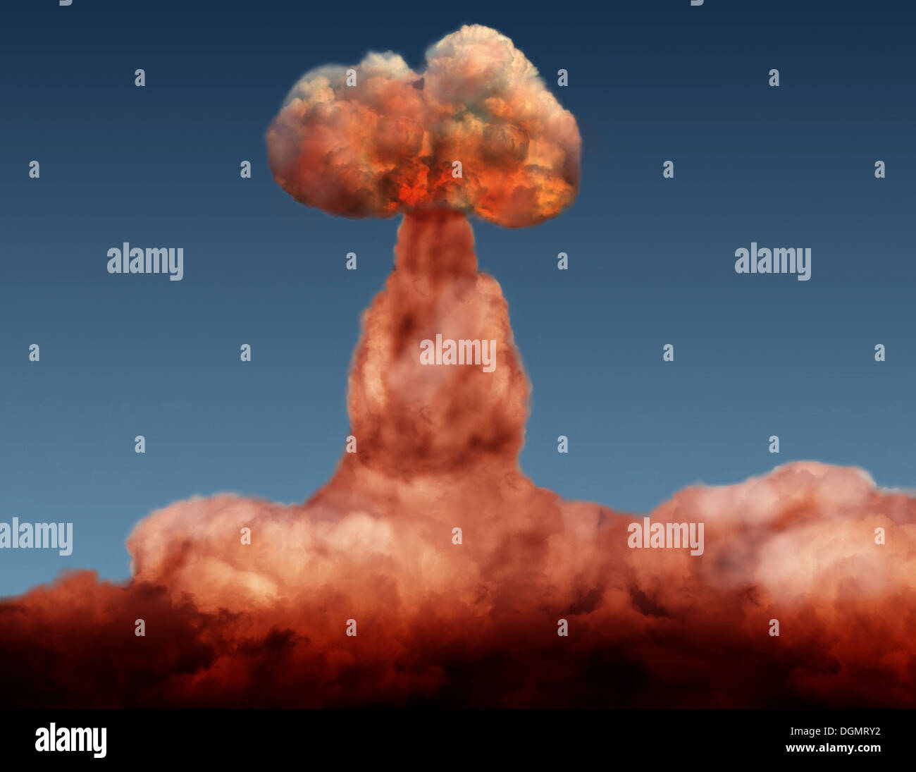 explosion of atomic bomb on background of sky - Stock Image