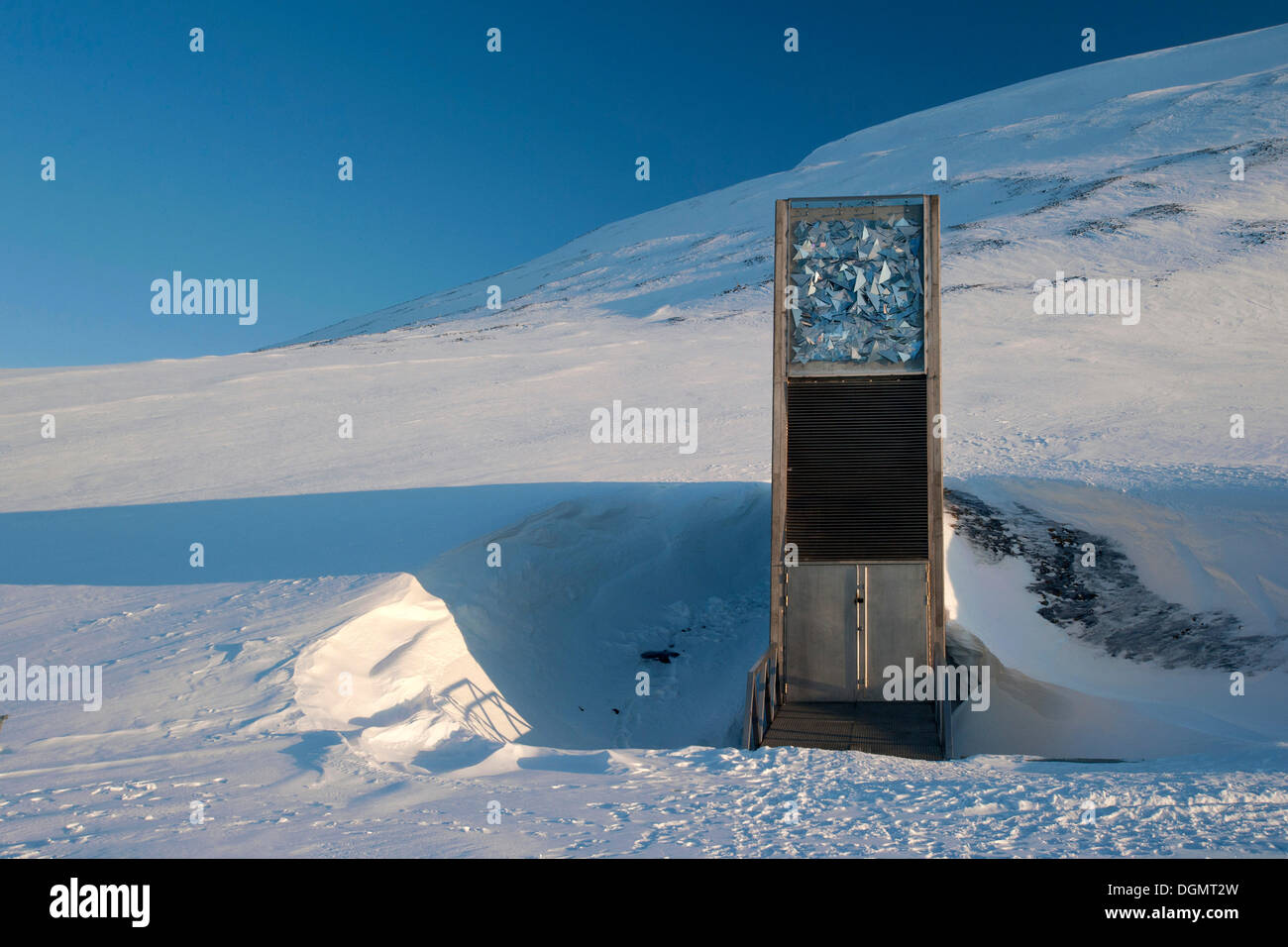The entrance to the 'Svalbard Global Seed Vault', Longyearbyen, Spitsbergen, Svalbard, Norway, Europe - Stock Image