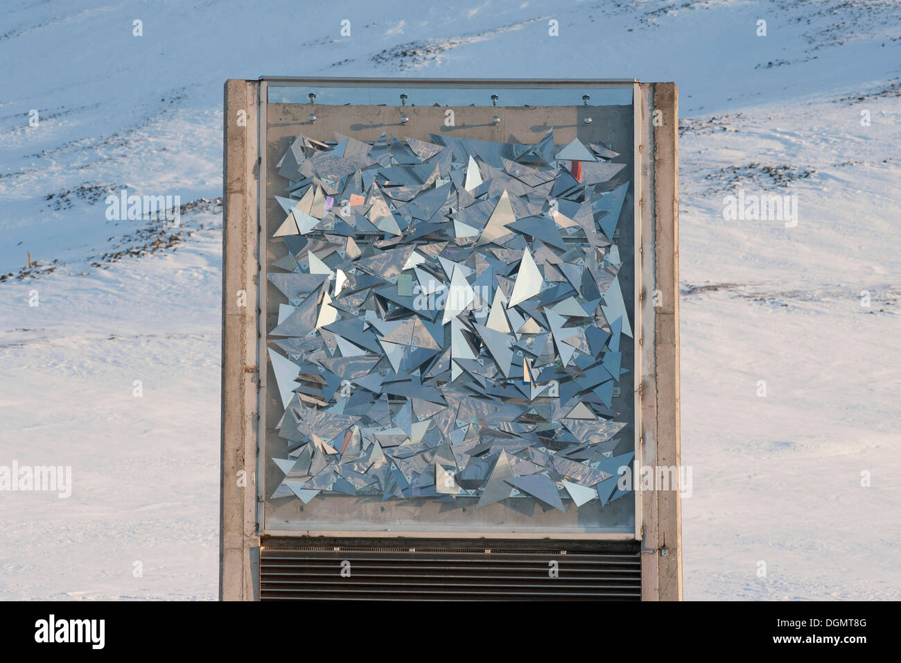 Artwork at the entrance to the Svalbard Global See Vault, Spitsbergen, Svalbard, Norway, Europe - Stock Image