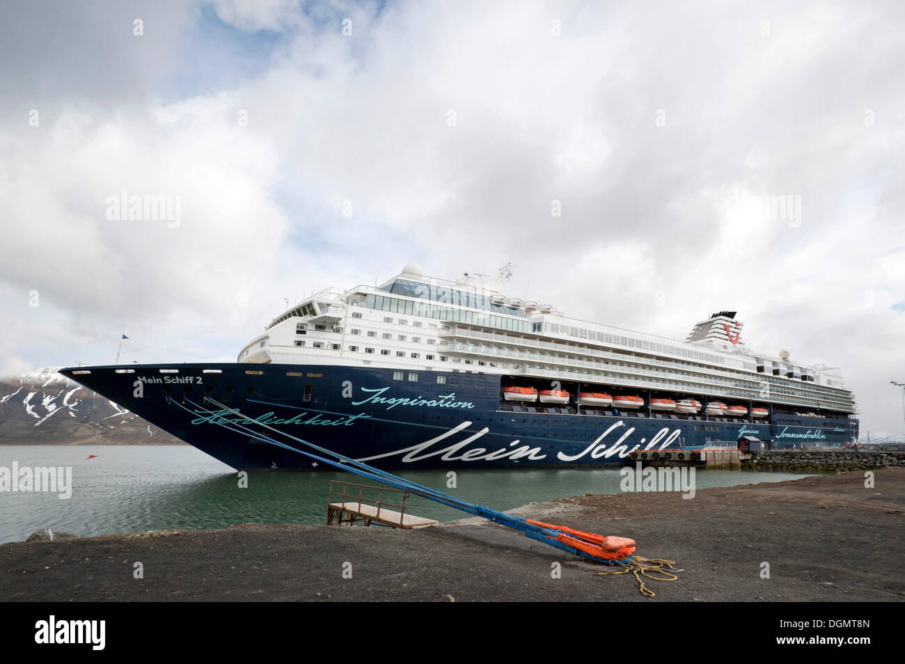 Cruise ship, Mein Schiff 2, from TUI Travel, moored in the port of Longyearbyen, Spitsbergen, Svalbard, Norway, Europe - Stock Image