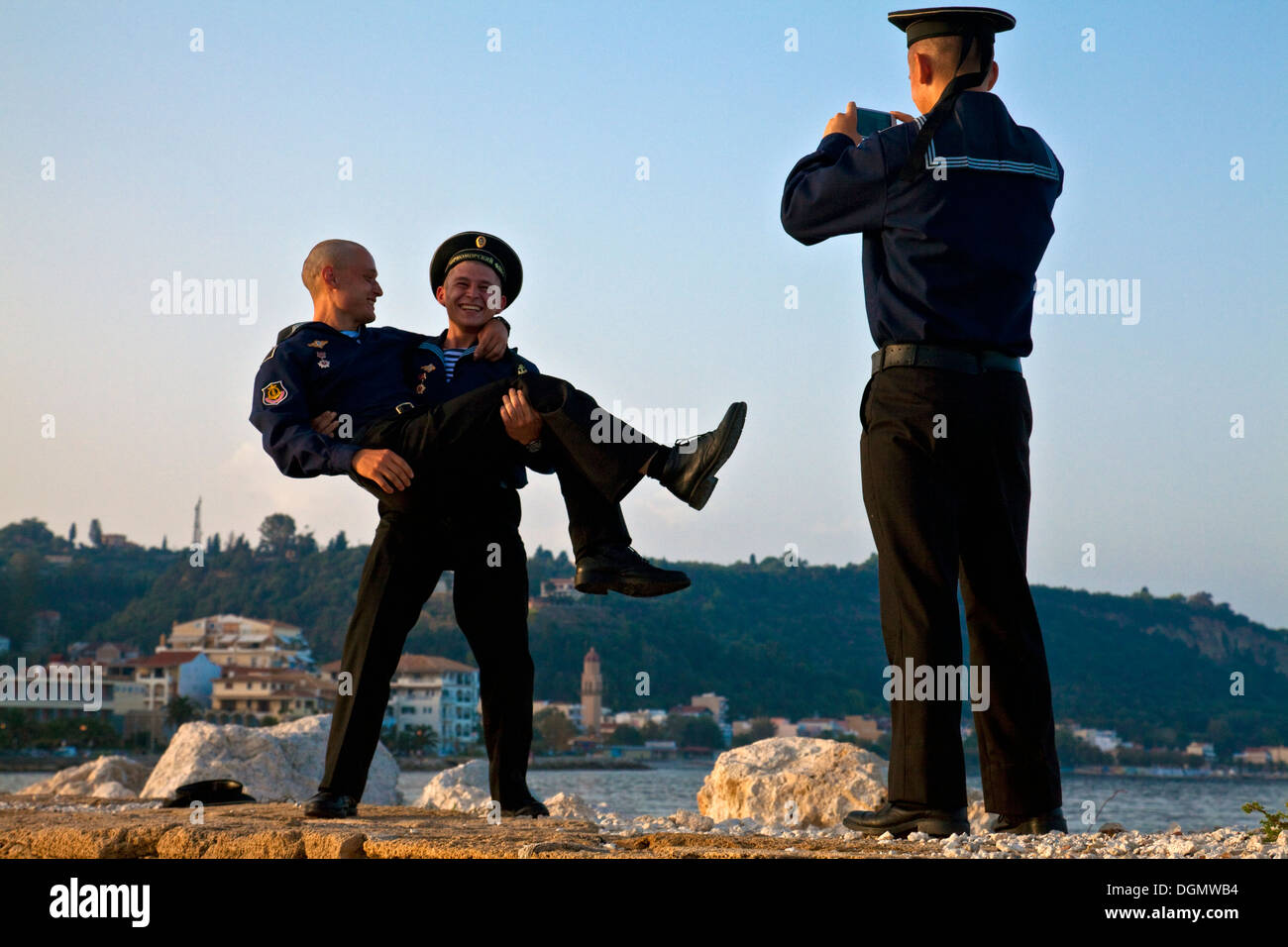 Russian Sailors On Shore Leave, Zakynthos Town, Zakynthos (Zante) Island, Greece - Stock Image