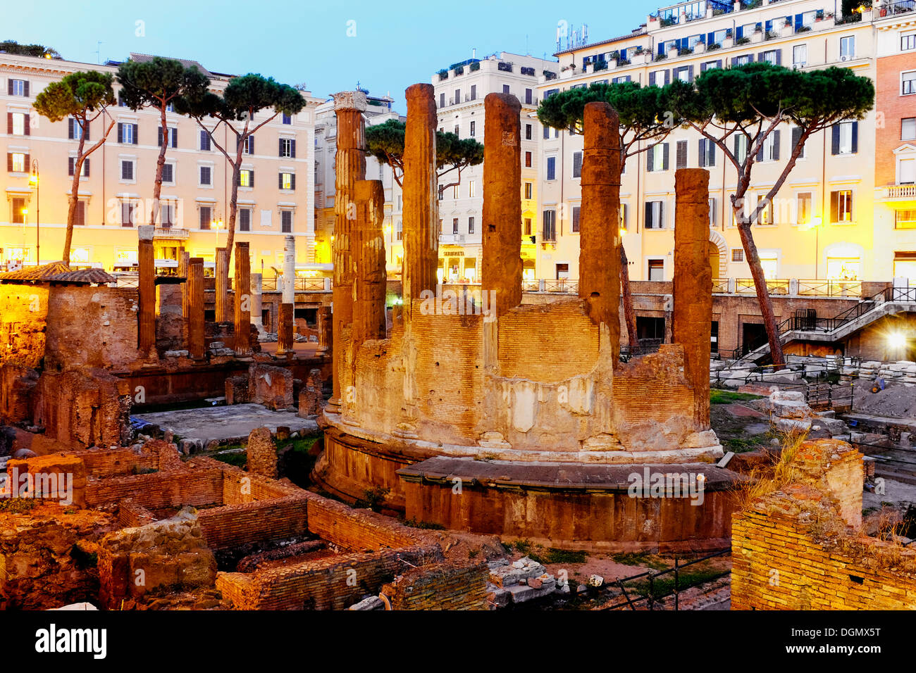 Roman temples in Largo di Torre Argentina, Rome Italy Stock Photo