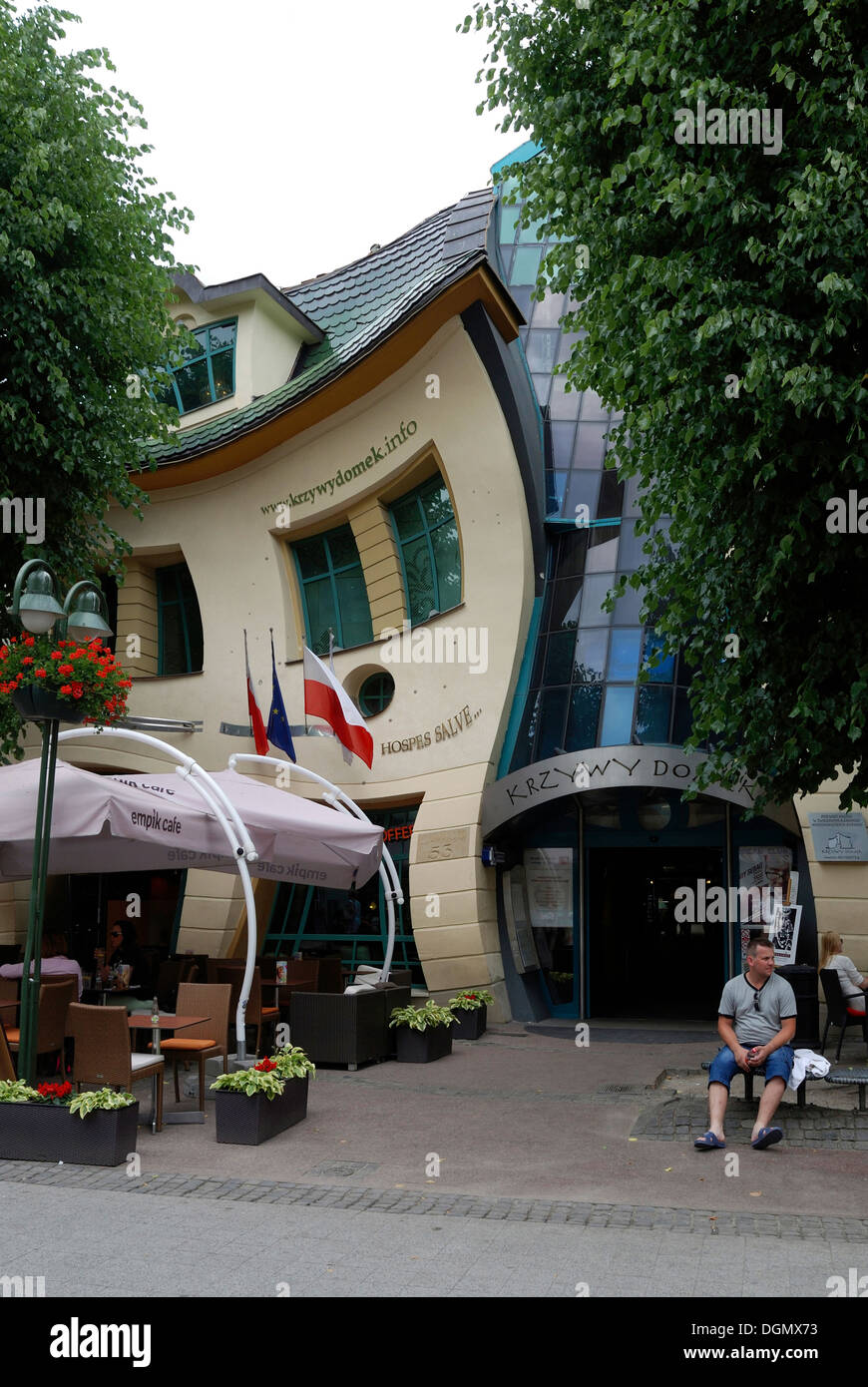 The crooked house on the Boulevard Monte Cassino in the Polish Baltic resort of Sopot. - Stock Image