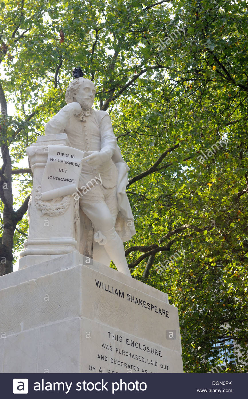 London UK Shakespeare statue on Leicester Square. - Stock Image