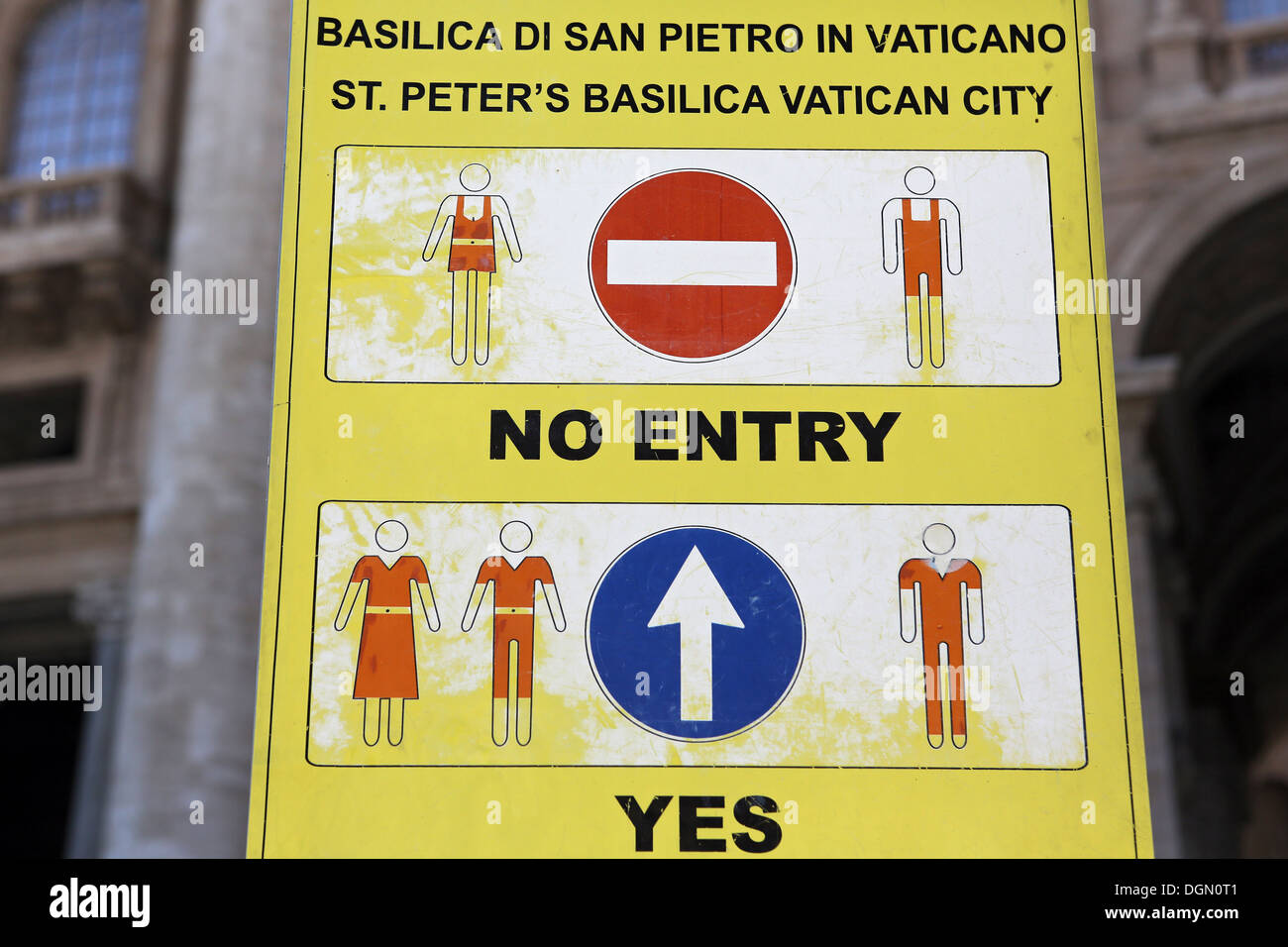 Vatican City, Vatican City, sign the dress code at St. Peter's - Stock Image