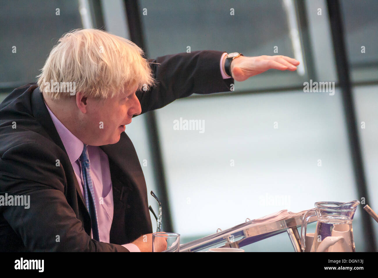 London. 23 October 2013. Mayor of London Boris Johnson faces questions from members of the London Assembly at City Stock Photo