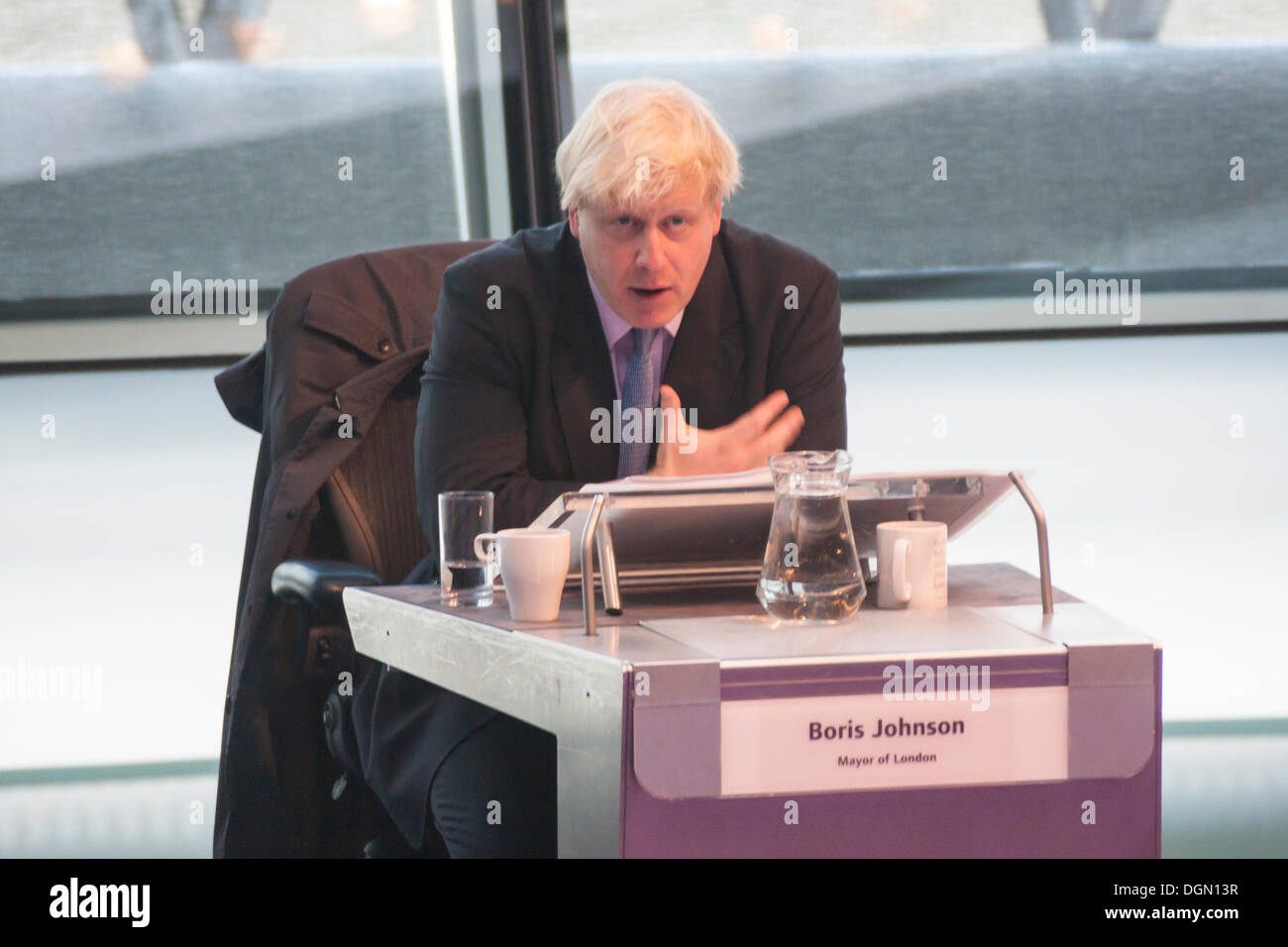 London. 23 October 2013. Mayor of London Boris Johnson faces questions from members of the London Assembly at City Hall. - Stock Image